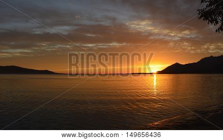 A beautiful summer sunset on the coast near Rovanjska in Zadar Country Croatia.