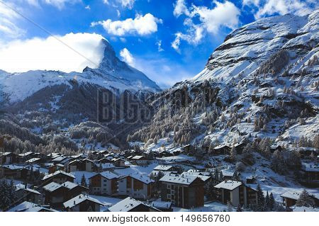 Amazing View On Zermatt - Famous Ski Resort In Swiss Alps, With Aerial View On Zermatt Valley, Switz