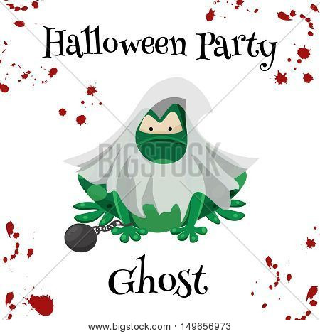 Halloween green toads fashion costume outfits. Ghost halloween party background. Cartoon style vector illustration isolated on white background
