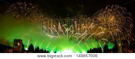Moscow, Russia - September 25, 2016: Fireworks At The Festival