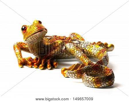 Bright statuette of the lizard isolated on white background