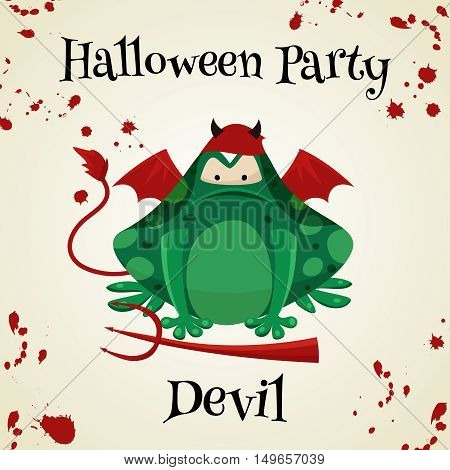 Halloween green toads fashion costume outfits. Davil halloween party background. Cartoon style vector illustration isolated on white background