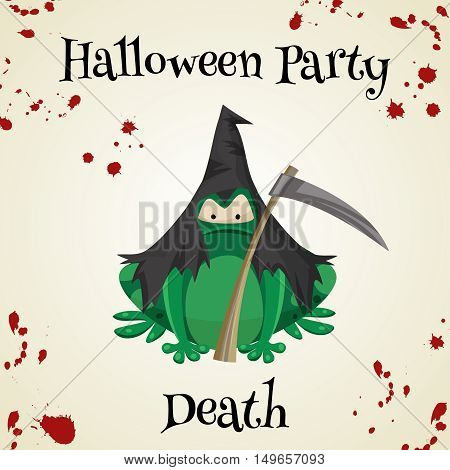 Halloween green toads fashion costume outfits. Dath halloween party background. Cartoon style vector illustration isolated on white background