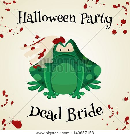 Halloween green toads fashion costume outfits. Dead bride halloween party background. Cartoon style vector illustration isolated on white background