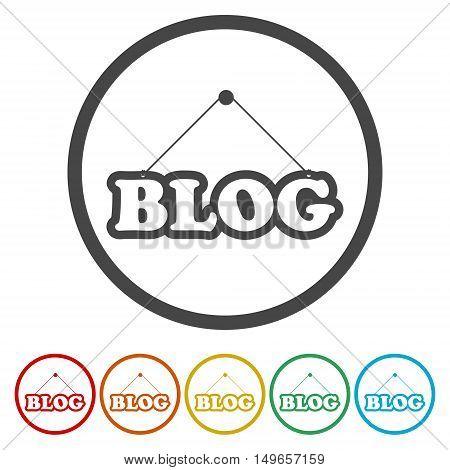 Design concept for blog icon set on white background