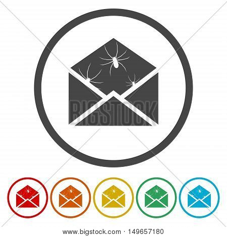 Spam icon. Spam sign. Virus icon set on white