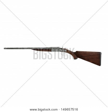 Hunting double-barrelled gun on white background. Side view. 3D illustration