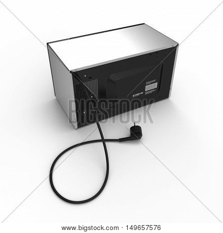 Microwave oven isolated on white background. Back view. 3D illustration