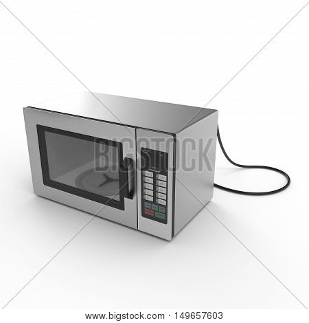 Microwave oven isolated on white background. 3D illustration