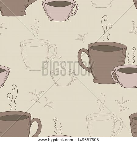 Vector seamless pattern with cups and tea twigs. Seamless contour pattern. Design for textile paper wrapping. Vector illustration.