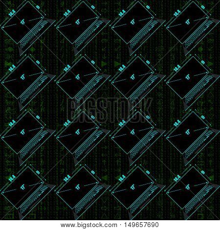 Seamless Pattern, A Realistic Laptop