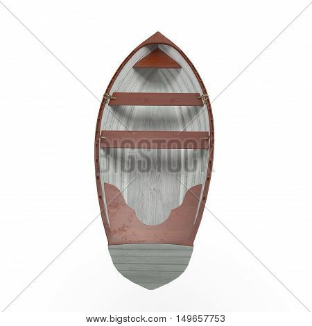 Wooden fisherman's boat on white background. Back view. 3D illustration