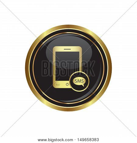 Phone icon with sms menu. Vector illustration