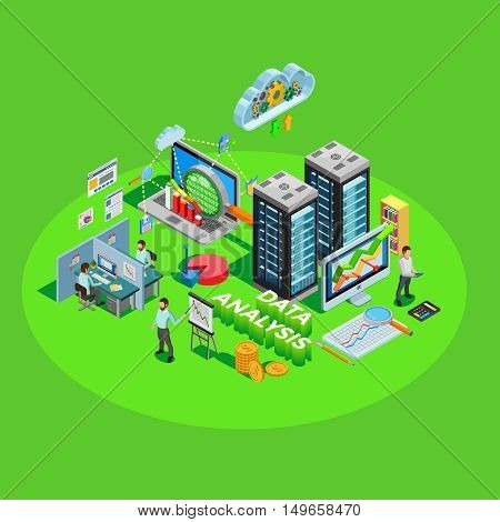 Data analytics conceptual isometric poster with access storage distribution and information analysis for successful business results vector illustration