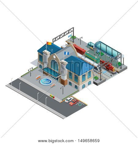 Isometric miniature of railway with station building near area parking platform passenger and freight trains vector illustration