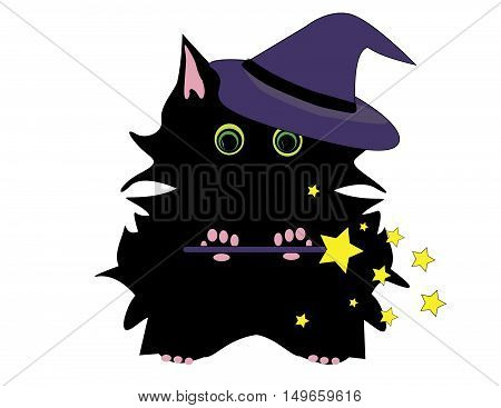 Cute Black Halloween Cat In Witch Hat With Wand