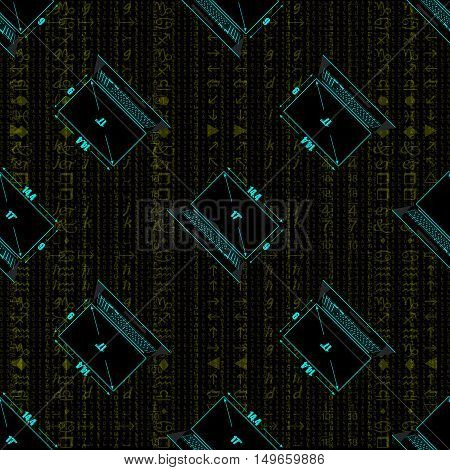 Seamless pattern a realistic laptop against the background of a flow of digits of gold color.