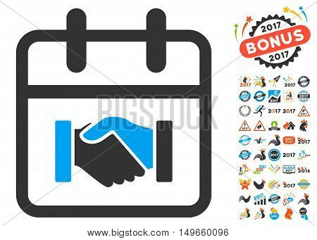 Contract Day pictograph with bonus 2017 symbols. Vector illustration style is flat iconic symbols, white background.