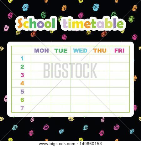 School timetable template for students and pupils. Abstract scribble background. Colorful design element.