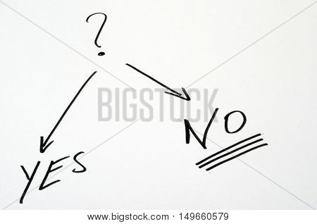 Choice Of Yes Or No On White Background