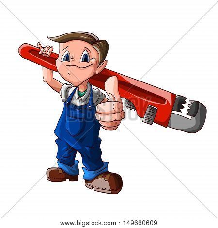 Colorful vector illustration of a cartoon cute plumber boy with a huge wrench on his shoulder blue jumpsuit and white shirt