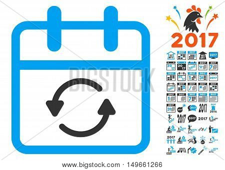 Update Day pictograph with bonus 2017 pictograph collection. Vector illustration style is flat iconic symbols, white background.