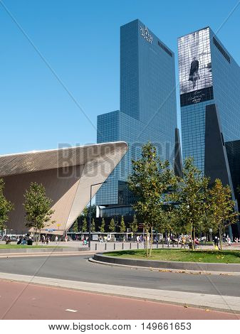 ROTTERDAM, NETHERLANDS - 15 SEPT. 2016: View on Rotterdam Central Station and high-rise building. The stgation which opened in 2015 is an important transport hub in the region with more than 100.000 passengers a day.