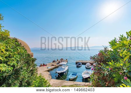 View of a pier with boats on sunny day in Zadar