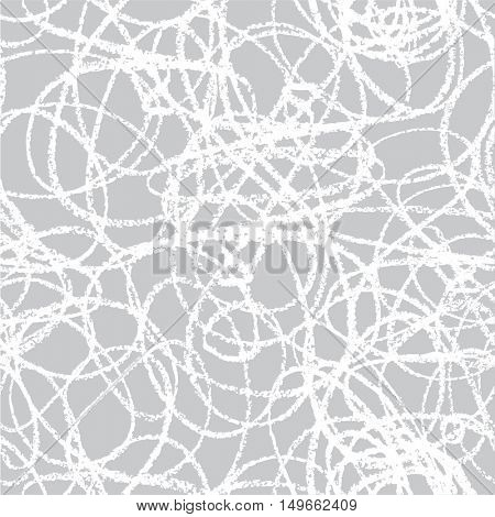 Hand drawn line seamless pattern. Doodle design element. Scribble.