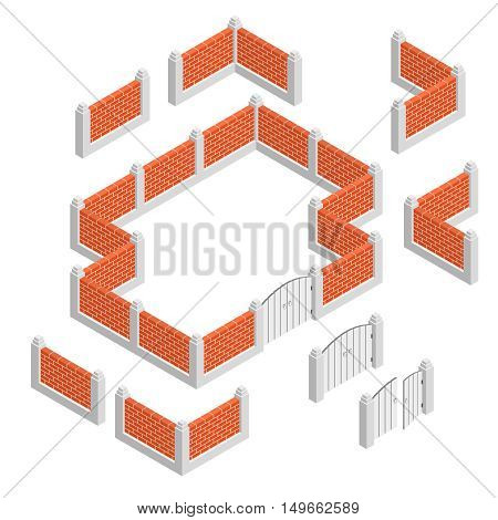 Fences abstract isometric design concept with set of brick fence sections wall and gate isolated vector illustration