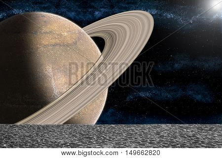 View of planet with rings and the universe from the moon's surface. Illustration showing the beauty of space exploration.
