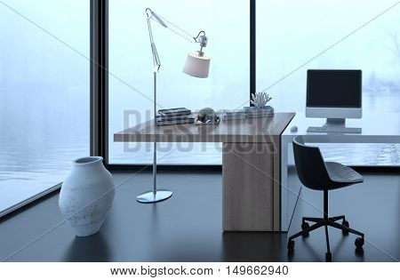 3D rendering of vase and floor lamp near desk in office surrounded by fog and water. Books and computer on top.