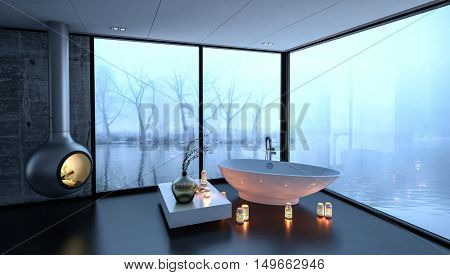 3d rendering of bathtub surrounded by fireplace and candles in luxury bathroom with large fogged up windows