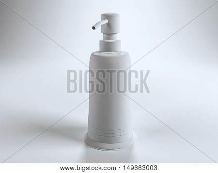 Single blank generic pump top lotion container with copy space over white background. 3d Rendering.