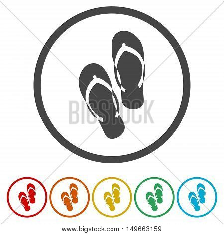 Beach slippers. Single flat icon on the circle. Vector illustration.