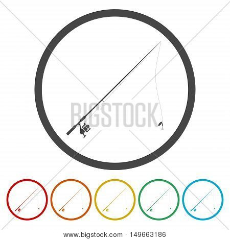 Fishing rod. illustration icon set on white