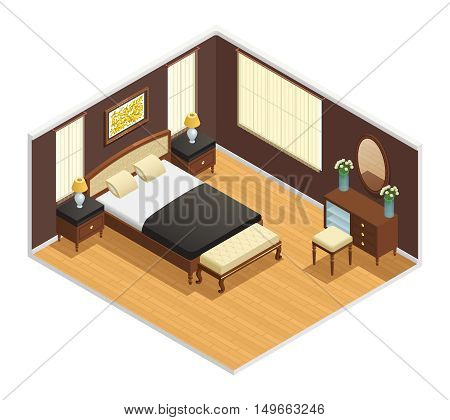 Isometric luxury interior for bedroom with double bed bedside tables and decorations vector illustration