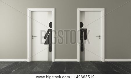 white restroom doors with wall 3D rendering and design for your project