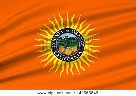 Flag of Orange County in California state United States. 3D illustration