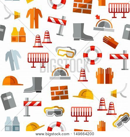 Occupational safety, seamless pattern, color, white.  Vector, color pictures of workwear and safety items on a white background.
