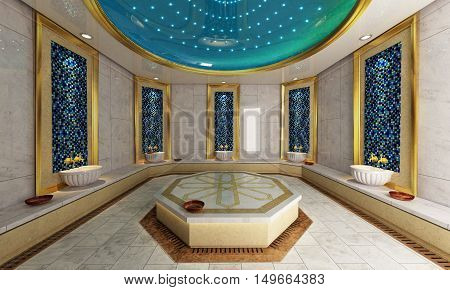 Modern Turkish bath 3D rendering and design