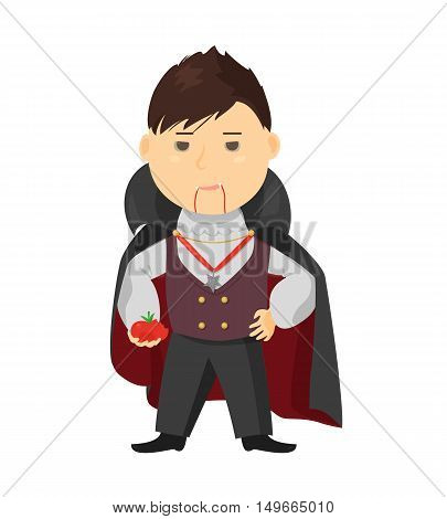 Cute cartoon kid in halloween costume isolated on white background. Vector illustration for holiday design. Funny child. Character october party. Vampire dracula boy