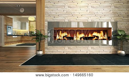 living room with fireplace 3D rendering and design for your project