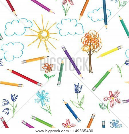 Kid art work pattern. Colorful pencils drawing pattern. Seamless texture with multicolored pencils. Abstract sketched background