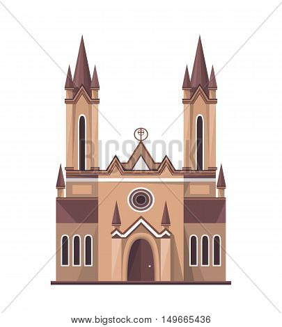 Catholic church icon isolated on white background. Vector illustration for religion architecture design. Old gothic tower building.