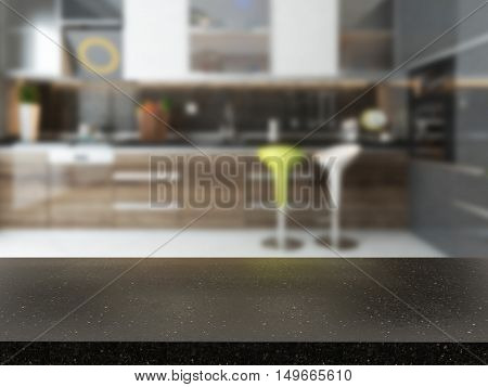 empty black granite desk with blurred kitchen background 3D rendering