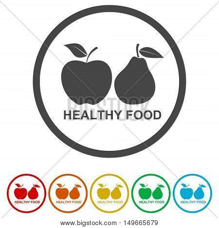 Fruits with leaf icons. Apple and Pear. Healthy food