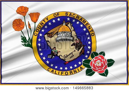 Flag of Sacramento County in California state United States. 3D illustration