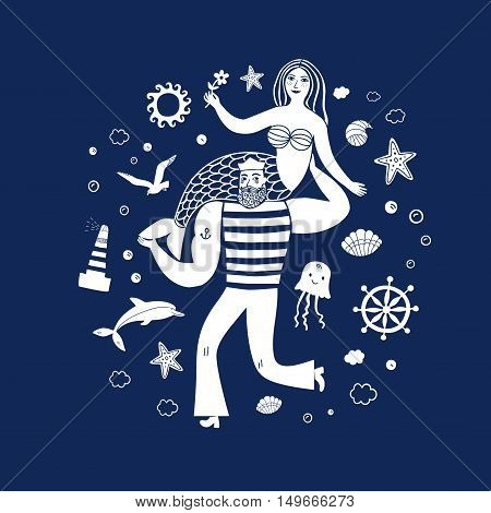 Sea icons cartoon set with sailor holding mermaid. Sea illustration for your design.