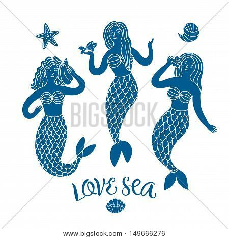 Sea cartoon illustration with three lovely mermaids. Hand drawn sea characters for your design